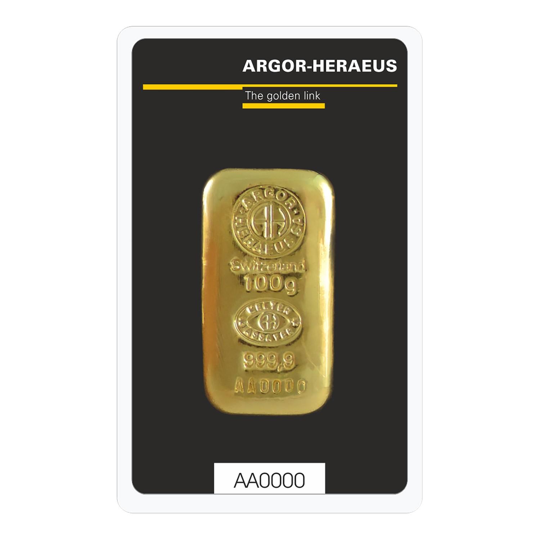 100g Argor-Heraeus Gold Cast Bar