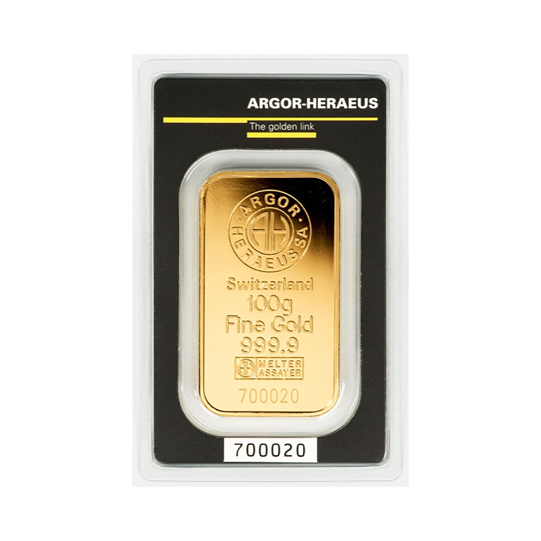 100g Argor-Heraeus Minted Gold Bar