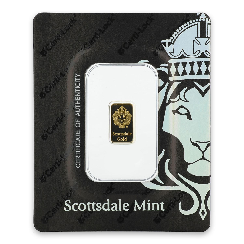 1g Heraeus Scottsdale Gold Certi-LOCK Bar