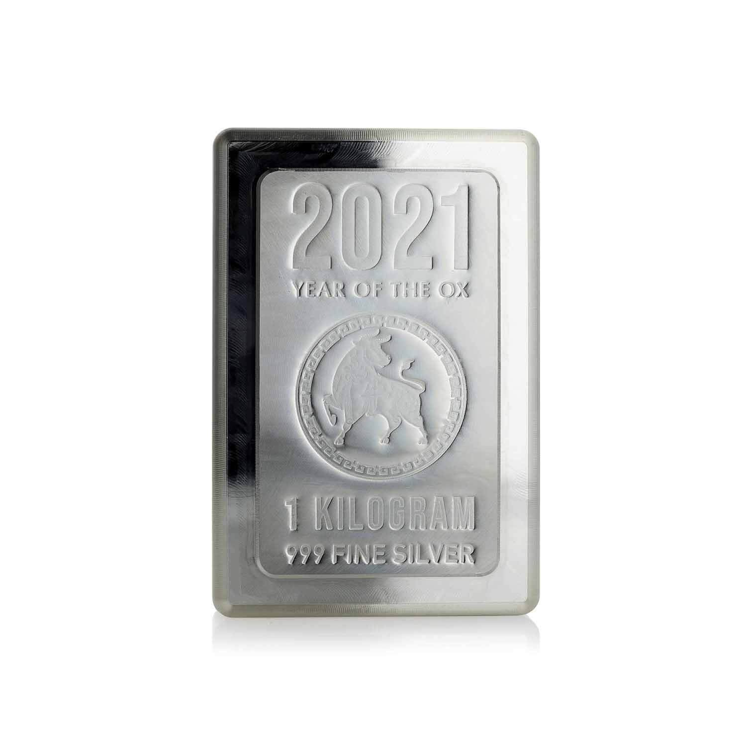 1kg Heraeus KILO Stacker Silver Bar 2021 Year of the Ox