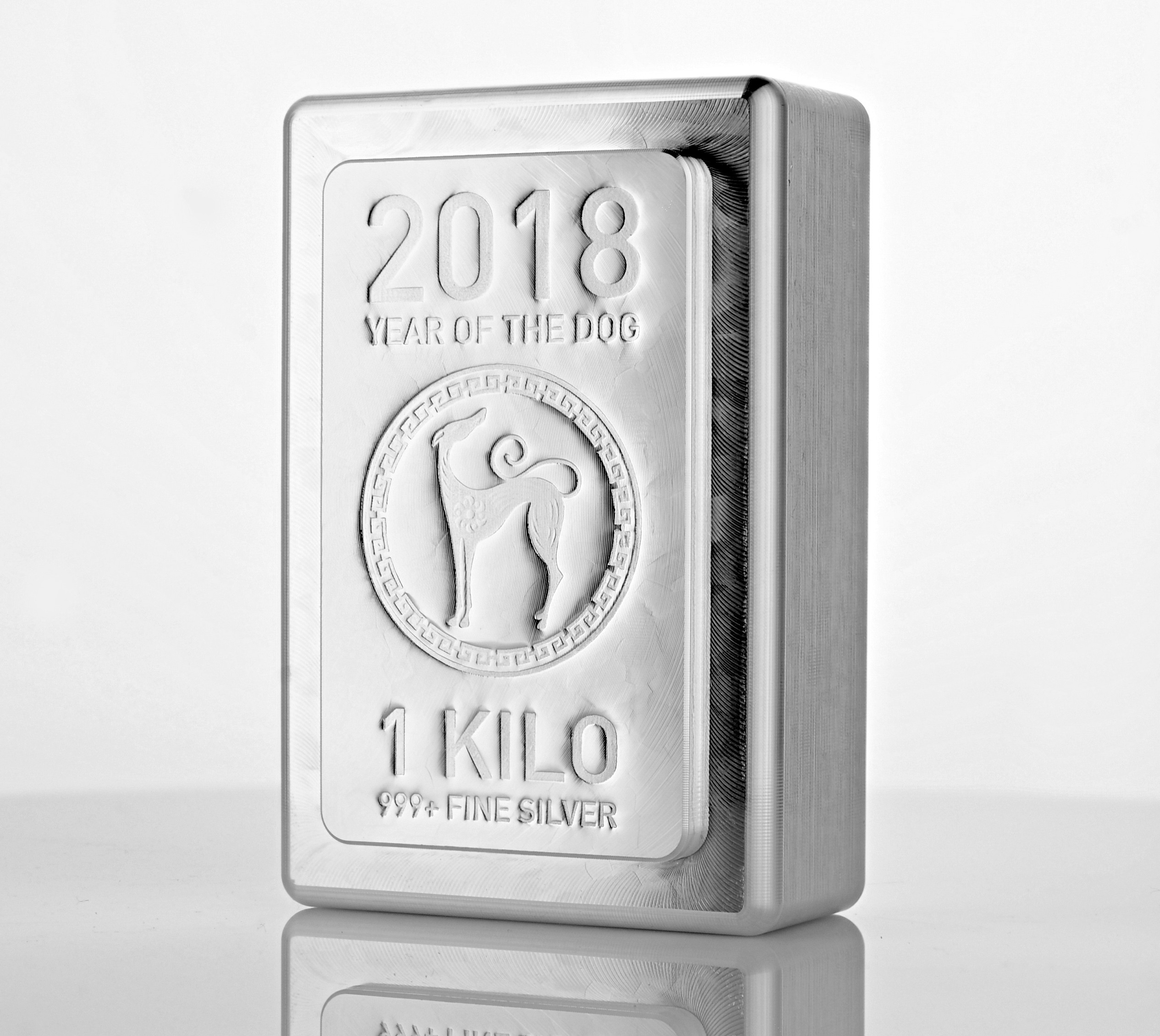 1kg Heraeus KILO Stacker Silver Bar 2018 Year of the Dog