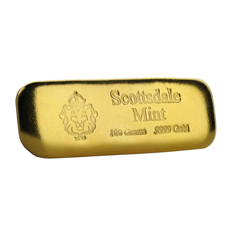 100g Scottsdale Mint Lion Hallmark Gold Bar