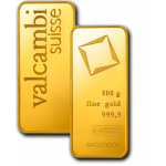 500g Valcambi Gold Minted Bar